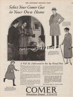 1922 Comer Weather-Proof Coats Dayton OH Ohio Vintage Fashion Print Ad