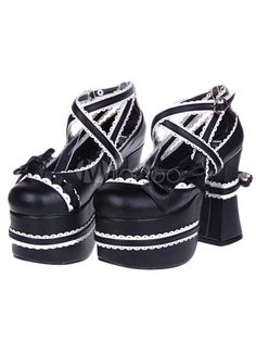 Élégant noir ronde Toe PU cuir rue porter des chaussures Lolita