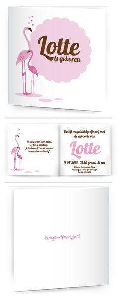Bekijk de leukste kaartjes op onze site | http://www.kissgeboortekaartjes.nl | #baby #geboortekaartje  #kissgeboortekaartjes #algemeen #flamingo #pink