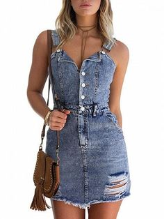 47c993766b8 Blue V-neck Button Front Ripped Detail Denim Mini Dress
