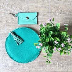 Turquoise leather circle zipper pouch