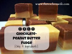 EASY CHOCOLATE/PEANUT BUTTER FUDGE.  This recipe is as easy as they come.  With only 4 ingredients, you will be popping this fudge in your mouth in no time! sweet treat, chocolatepeanut butter, butter fudg, easi chocolatepeanut