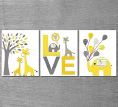 Yellow and grey ELEPHANT  nursery  Art. This screams Baby Tref to me. Especially if you stick to the color scheme we talked about yesterday.