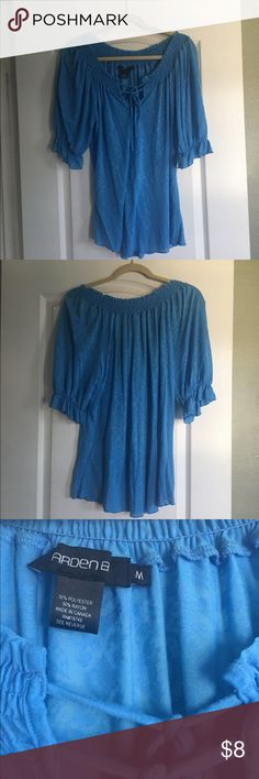 Arden B Blue Peasant Top Pretty Azure Blue Peasant Top from Arden B.  Can be worn off the shoulder if you want. Top has a rose pattern throughout and is slightly sheer.  Only worn once or twice, no stains or tears...comes from a non-smoking home. Size is Medium (roughly size 6-8)...meant to be worn kinda baggy. Arden B Tops Blouses