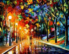 Romantic Evening  PALETTE KNIFE Landscape por AfremovArtStudio