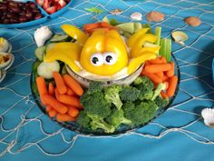 Vegetable tray made for beach or underwater themed event.