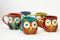Mr Owl Ceramic Mug  Choose Your Color  Retro by BackBayPottery, $30.00