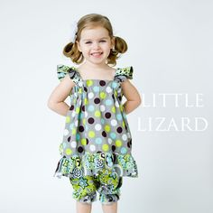 Little Lizard King Ruffle Swing Tunic Top Sewing Pattern for Girls and Doll Size 6 mo - 10 years