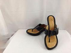 NURTURE Melody Woman's BLACK Heels Sandals Shoes LEATHER Size 9 M  Buckle #Nurture #Slides
