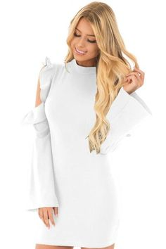 Her Fashion White Cold Shoulder Ruffle Ultra Modern Bodycon Dress Tight Dresses, Club Dresses, Sexy Dresses, Short Dresses, Mini Dresses, Bodycon Dress With Sleeves, Dresses With Sleeves, Ladies Dress Design, Clubwear