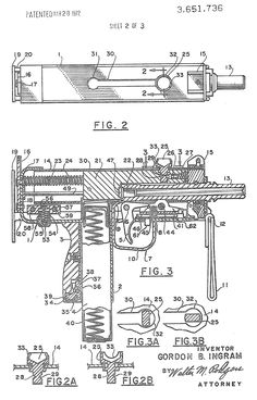Патент - Bolt handle and pistol grip magazine for an automatic firearm Mac 10, Homemade Weapons, Submachine Gun, Patent Drawing, Weapon Concept Art, Patent Prints, Guns And Ammo, Firearms, Hand Guns