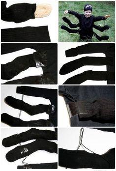 Schwarze Spinne Karneval Kostüm für Kinder selber machen