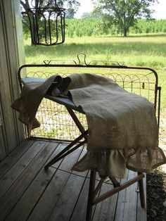 READY TO SHIP TodayRuffled Burlap Table Runner by cottageandcabin, $45.00
