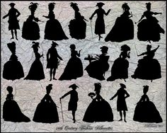 Late 18th Century Fashion Silhouettes by EKDuncan.  A series of Georgian Era silhouettes based on vintage fashion plates.  The individual images can be found at http://www.ekduncan.com/2012/05/late-18th-century-fashion-silhouettes.html#