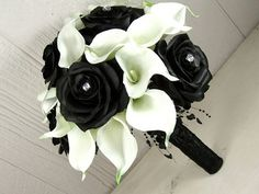 Modern Black Rose and White Calla Wedding Bouquet | Flickr - Photo Sharing!