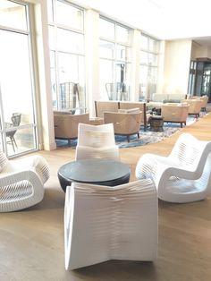 Eggshell Home - Pasea Hotel Spa Lobby White Wood Beach Modern Rocker