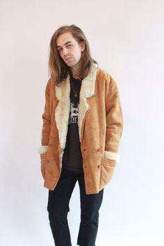 Vintage 90s Luxuriously Soft Brown Suede Sheepskin Coat by WastelandVintageUK on Etsy