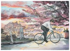 """Bicycle boy"" series by Mateusz Urbanowicz (Ink & Watercolours, 2014)."