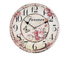 IL VIALE DELLE ROSE: Orologio da parete in legno Forever - D34 cm