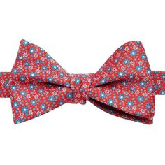 Men's Bow Tie Tuesday Floral Self-Tie Bow Tie ($14) ❤ liked on Polyvore featuring men's fashion, men's accessories, men's neckwear, bow ties, red, mens floral bow tie, mens patterned ties, mens floral ties, mens bow ties and mens self tie bow ties