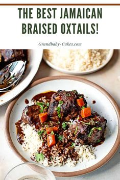 This Braised Jamaican Oxtail Recipe is a Caribbean take on a classic Southern staple. Gelatinous beef oxtails are slowly simmered for hours in a homemade jerk sauce rendering tender fragrant and delicious pieces of goodness! Oxtail Recipes, Jamaican Recipes, Lamb Recipes, Slow Cooker Recipes, Chicken Recipes, Cooking Recipes, Jamaican Cuisine, Jamaican Dishes, Jamaican Oxtail