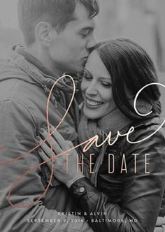 Classic Fall themed Save the Date Invitation with black and white photo.