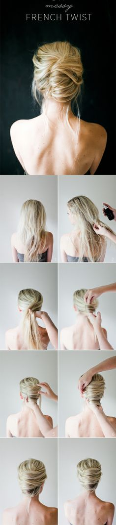 "1. With your fingers, lightly ""comb"" all the hair back as if you're about to do a mid pony. 2. Follow through to the ends and start rolling the ends to the direction you want the twist in. We rolled to the left. 3. Keep rolling until you reach the head, this is also the part where you can ""poof"" out the crown a bit and loosen it up. 4. Now that you have the shape you want, go a head and pin the twist to the rest of the hair."