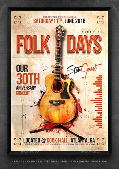 Folk Flyer / Poster Template  #guitar #night club #indie • Click here to download ! http://graphicriver.net/item/folk-flyer-poster-template/16197538?ref=pxcr