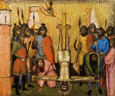 """""""Arreglando una bisagra en el Calvario"""" (La crucifixionne postergatta por motivi técnicci) Jacopo Di Cione. (De El Hematocrítico de Arte)"""