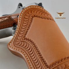 """1911 Holster featuring the """"Tucson"""" design. Leather Stamps, Leather Art, Leather Gifts, Leather Tooling, Handmade Leather, Leather Jewelry, Leather Craft Tools, Leather Projects, Custom Leather Holsters"""