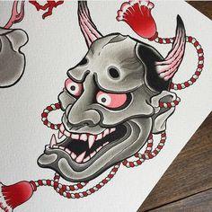 Samurai Mask Tattoo, Hannya Mask Tattoo, Hanya Tattoo, Black Tattoo Cover Up, Cover Tattoo, Mascara Hannya, Body Art Tattoos, Tattoo Drawings, Japanese Demon Tattoo