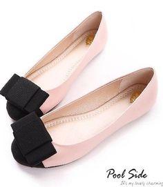 Bowknot Embellished Flat Single Shoes Pink