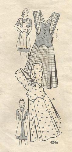 1940s Bib Apron Drop Waist Flared Skirt V Back by kinseysue