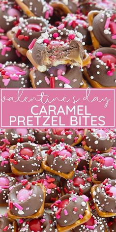 Valentine's Day Caramel Pretzel Bites are the perfect festive treat with pretzels, Rolo candy, pink and red m&m's, and heart shaped pretzels. This is the perfect valentine's day treat recipe. Valentines Day Desserts, Valentine Ideas, Funny Valentine, Valentine Crafts, Rolo Cookies, Romantic Meals, Sugar Cookie Bars, Pink Foods, Cake Truffles