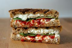The Buffer: feta cheese, baby spinach, red pepper relish and seven grain bread…love feta!