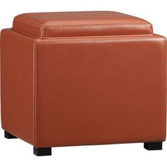 """Love this in orange.  Stow Persimmon 17.5"""" Leather Storage Ottoman in Ottomans, Cubes 