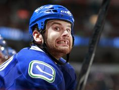Zack Kassian of the Vancouver Canucks. The face of a real hockey player. Hockey Games, Hockey Players, Ice Hockey, Vancouver Canucks, Nhl News, Athletic Trainer, Star Wars, Dental Plans, Edmonton Oilers