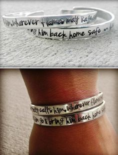 """'Firefighter Prayer' Two-Piece Cuff Bracelet Set: Tarnish-free aluminum, hand-stamped bracelets read """"When duty calls him, wherever flames may rage, give me Strength to let him go, and bring him back home Safe."""" Can be personalized to also include  a name, date, badge number or other short message.  