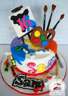 Art Themed Sweet 16 cake Art Themed Sweet 16 cake – Cake by momschap Art Birthday Cake, Sweet 16 Birthday Cake, Artist Birthday, Themed Birthday Cakes, Themed Cakes, Painter Cake, Artist Cake, Sweet 16 Cupcakes, Art Party Cakes