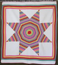 "Oustanding Vibrant LONE STAR Vintage 1930s QUILT 75"" x 68"" CLEAN  Vintageblessings"