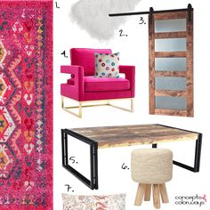 bright pink and reclaimed wood living room, interior styling ideas, get the look, interiors mood board, hot pink modern chair, gold base, fuchsia tribal rug, white sheepskin throw, reclaimed wood barn door, industrial style coffee table, woven stool, floral pillow, eclectic interior, bohemian interior, pantone pink yarrow
