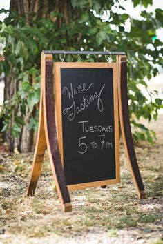 Chalkboard Sign with Wine Barrel Staves Barrel Wine Barrel Crafts, Wine Barrel Rings, Wine Barrels, Whiskey Barrel Furniture, Barris, Winery Tasting Room, Barrel Projects, Wine Craft, Wine Decor