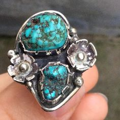 Vintage sterling silver natural turquoise ring 7.5 Beautiful vintage Sterling silver natural chunky turquoise ring. Size 7.5/7.75 on mandrel. Stamped Sterling on back. Make sure to check out my other vintage sterling rings and bundle for a discount! Vintage Jewelry Rings