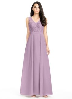 AZAZIE BRITNEY. Britney is a floor length A-linecut gown made of gorgeous lace and chiffon. #Bridesmaid #Wedding #CustomDresses #AZAZIE