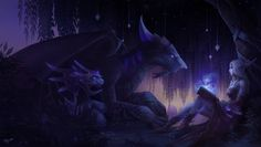Peace and harmony by Elizanel on DeviantArt Warcraft Art, World Of Warcraft, Mystical Animals, Night Elf, Peace And Harmony, Fantasy Pictures, Wow Art, Creature Concept, Fantasy Creatures