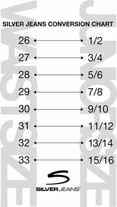 Silver Jeans Size Conversion Chart