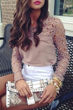 Street style | Neutrals lace top, white shorts, clutch
