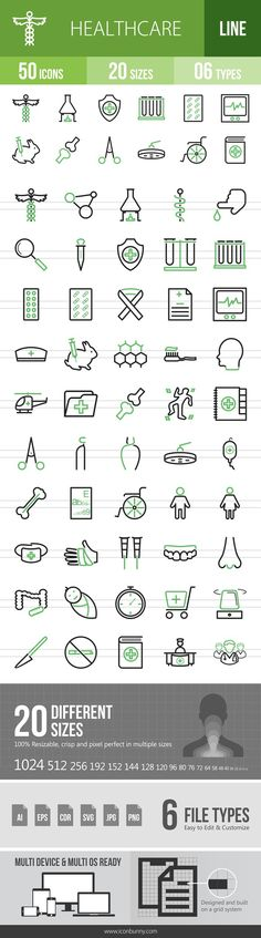 50 Healthcare Green & Black Icons. Human Icons. $9.00