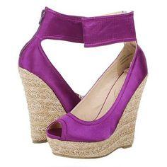 Purple Satin Espadrille Wedges