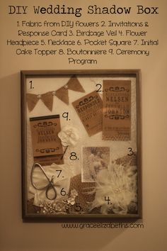 DIY Wedding Shadow Box...I'm starting to get great ideas for my hallway...I want floor to ceiling pictures/shadow boxes/decals/kids artwork/everything memorable!!! So Excited to get on this THIS year!!!   :D